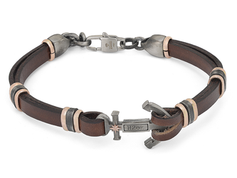 Steel and brown leather bracelet with burnished central anchor and rosè polar star
