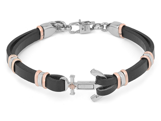 Steel and black leather bracelet with central anchor and rosè polar star