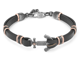 Steel and black leather bracelet with burnished central anchor and rosè polar star