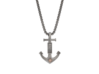 Necklace with anchor pendant in burnished steel and rosè polar star