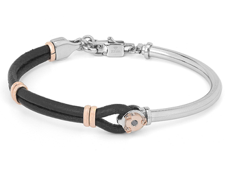 Semi-rigid steel bracelet with black leather and rosè links and Black Diamond (0.025 ct)
