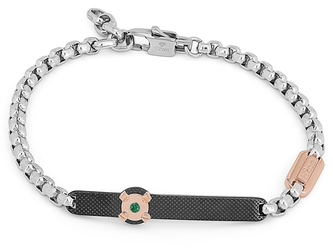 Steel bracelet with chain and knurled plate in black PVD and Natural Emerald (0.024 ct)