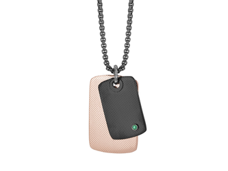 Black PVD steel necklace, black and rosé PVD knurled plates with Natural Emerald (0.024 ct)