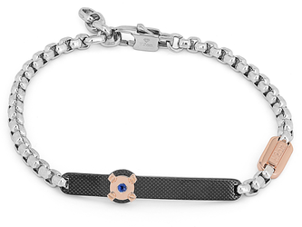 Steel bracelet with chain and knurled plate in black PVD and Natural Sapphire (0.032 ct)