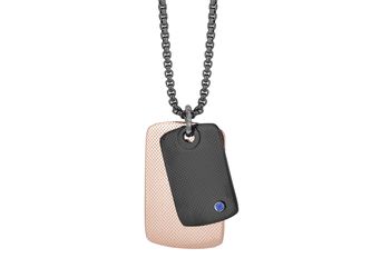 Black PVD steel necklace, black and rosé PVD knurled plates with Natural Sapphire (0.032 ct)