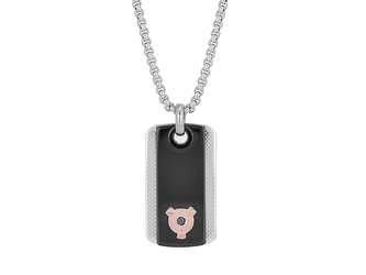Necklace with steel pendant, black PVD plate on knurled plate and Black Diamond (0.025 ct)