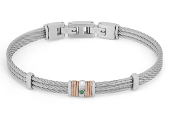 Steel cable bracelet with rosé links and Natural Emerald (0.024 ct)