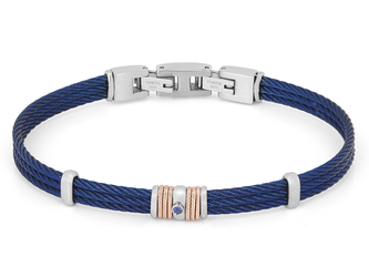 Blue PVD steel cable bracelet with knurled rosé links and Natural (0.032 ct)