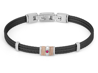 Black PVD steel cable bracelet with knurled rosé links and Natural Ruby (0.027 ct)