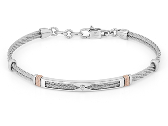 Steel cable bracelet with knurled rosé links and Natural Diamond (0.015 ct)