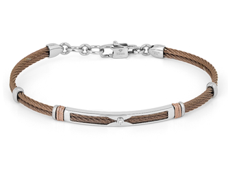 Brown PVD steel cable bracelet with knurled rosé links and Natural Diamond (0.015 ct)