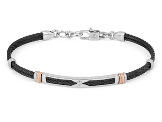 Black PVD steel cable bracelet with knurled rosé links and Natural Diamond (0.015 ct)