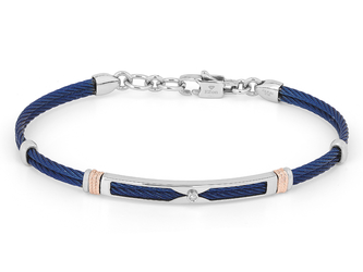Blue PVD steel cable bracelet with knurled rosé links and Natural Diamond (0.015 ct)