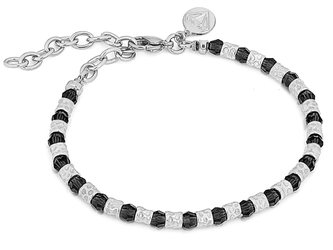 Bracelet with semi-finished steel and Swarovski round 4 mm black