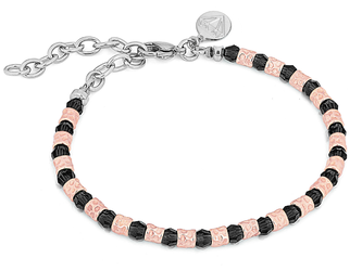 Bracelet with semi-finished rosè steel and 4 mm black round Swarovski