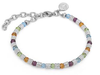 Bracelet with semi-finished steel and Swarovski round 4 mm amethyst/citrine/peridot/aquamarine