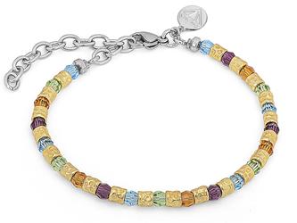 Bracelet with semi-finished golden steel and Swarovski round 4 mm amethyst/citrine/peridot/aquamarine