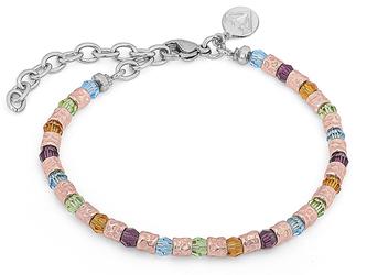Bracelet with semi-finished rosè steel and Swarovski round 4 mm amethyst/citrine/peridot/aquamarine