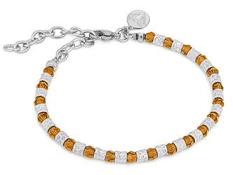 Bracelet with semi-finished steel and Swarovski round 4 mm citrine