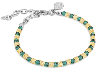 Bracelet with semi-finished golden steel and Swarovski round 4 mm emerald