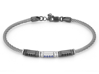 Stainless steel bracelet with semi-finished in 925 Silver ruthenium color and black Swarovski and sapphire blue