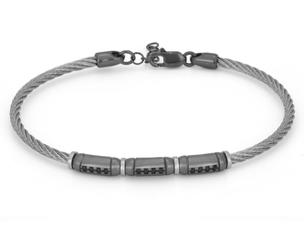 Stainless steel bracelet with semi-finished in 925 silver ruthenium color and black Swarovski