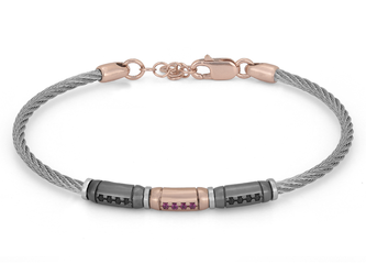 Stainless steel bracelet with semi-finished in 925 silver ruthenium and rosé color with blackand ruby red Swarovski
