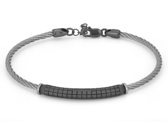 Stainless steel bracelet with semi-finished 925 silver ruthenium color