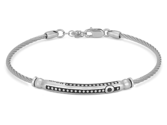 Stainless steel bracelet with semi-finished 925 silver ruthenium color and black Swarovski