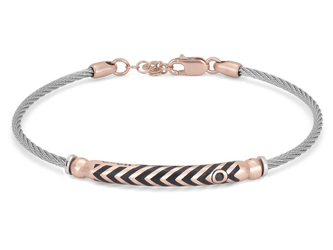 Stainless steel bracelet with semi-finished 925 silver rosé color and black Swarovski