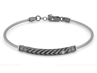 Stainless steel bracelet with semi-finished 925 silver ruthenium color and white Swarovski