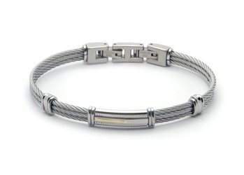 Stainless steel cable bracelet and plate with 18kt gold (gr 0.04)
