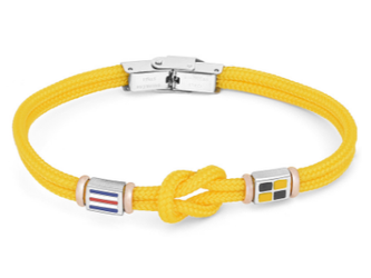 Stainless steel bracelet and yellow nautical rope and flags