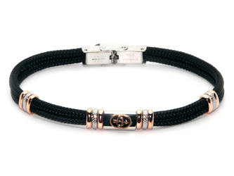 Stainless steel bracelet and black nautical rope with central in enameled bronze zodiac sign SAGITTARIUS
