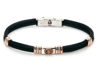 Stainless steel bracelet and black nautical rope with central in enameled bronze zodiac sign SCORPIO