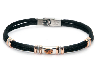 Stainless steel bracelet and black nautical rope with central in enameled bronze zodiac sign VIRGO